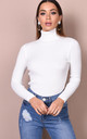 Roll neck ribbed knit jumper top cream by LILY LULU FASHION