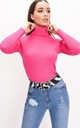 Roll neck ribbed knit jumper top fuchsia pink by LILY LULU FASHION