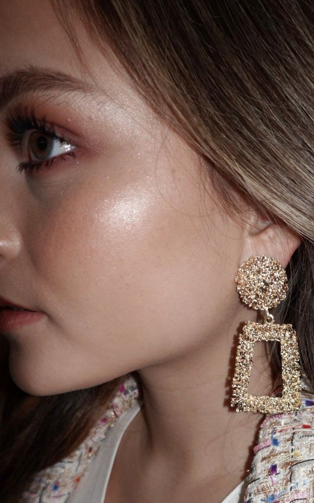 Tily Gold Textured Drop Earrings by Lavand Stories