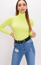 Roll neck ribbed knit jumper top neon green by LILY LULU FASHION