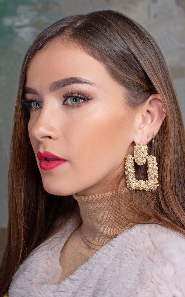 Eva Square Gold Textured Statement Earrings by Lavand Stories