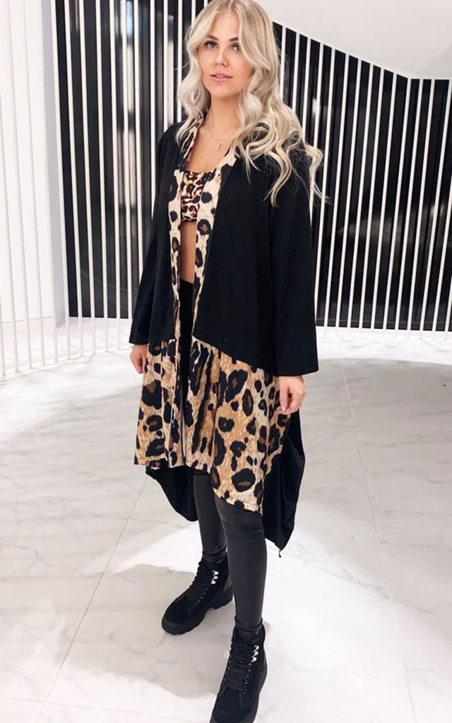 Black Leopard Print Long Cardigan in Relaxed Fit by Miss Mills