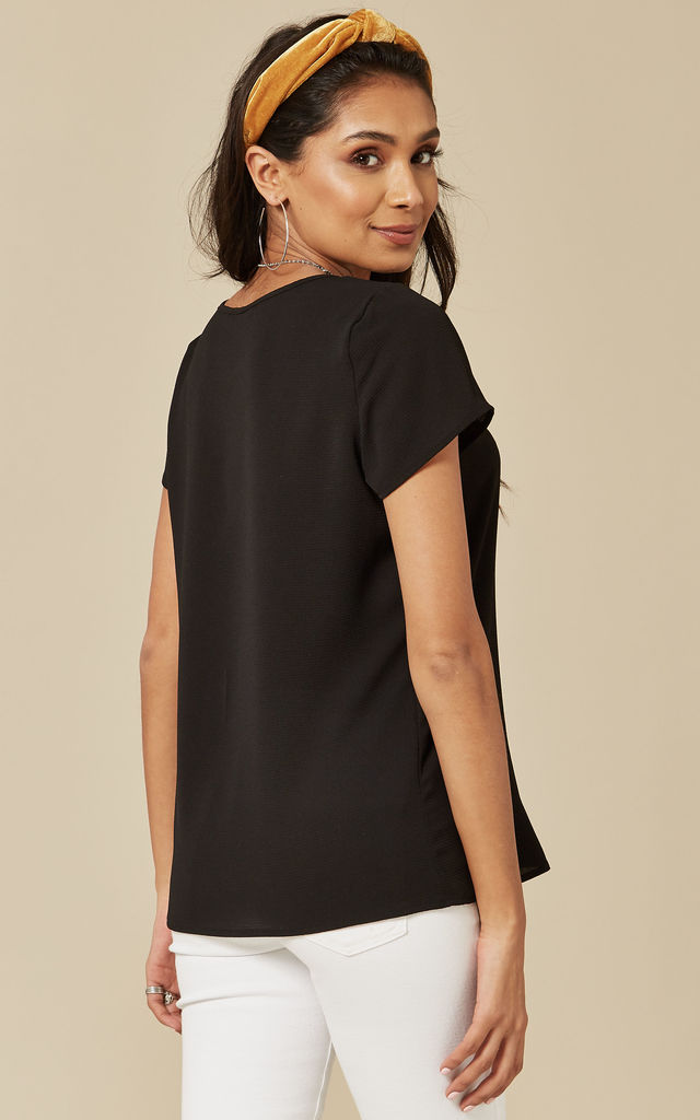 Black Open Neck Short Sleeve Top by VM
