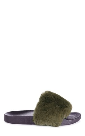 Kendall Khaki Faux Fur Sliders by Linzi