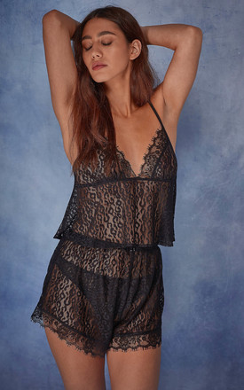 Jenna Leopard mesh camisole & shorts set by Wolf & Whistle