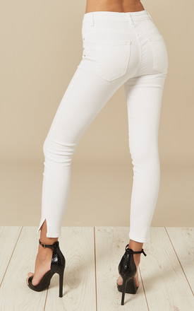 White Mid Waist Cropped Skinny Jeans by Pieces Product photo