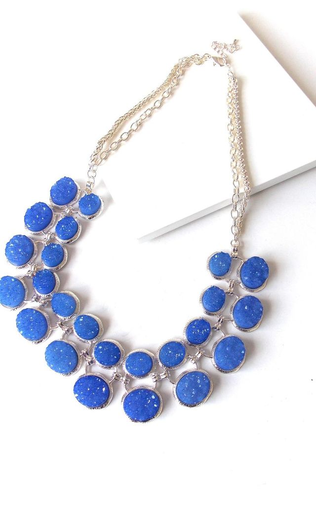Cobalt Blue Druzy Style Statement Necklace by Olivia Divine Jewellery