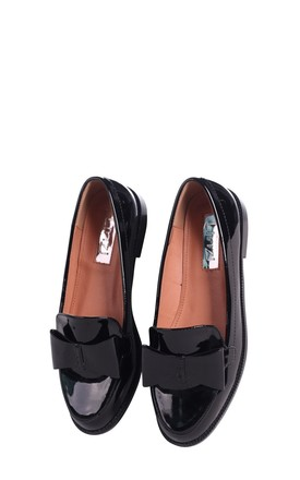 Jamima Black Patent Classic Slip On Loafer With Tassel Detail by Linzi