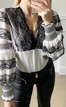 Valencia Long Sleeved Lace Detail Blouse in Black and White by Caramella