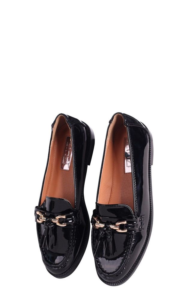 Evaleen Black Patent Classic Tassel Loafer by Linzi