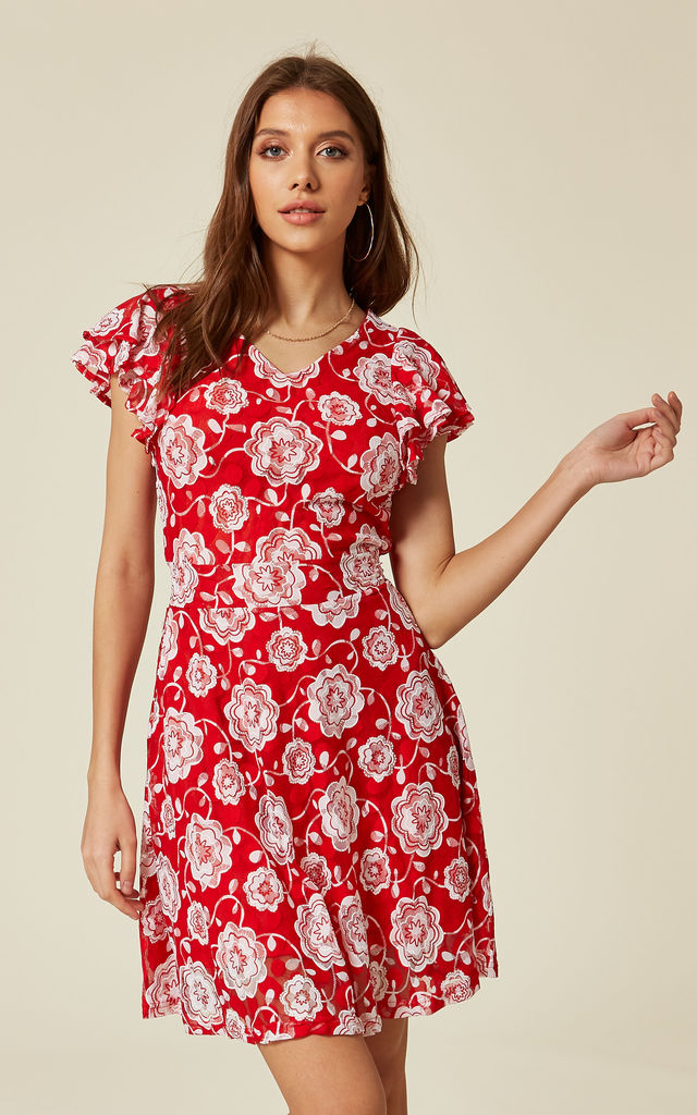 ... Red Ruffle Floral Print Lace Skater Dress by TENKI LONDON ... 4a8ae997c