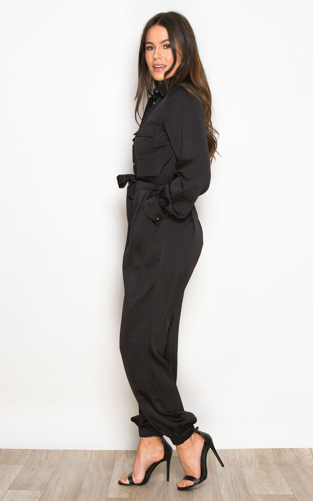 Carrie Long Sleeve Utility Jumpsuit Black by Girl In Mind