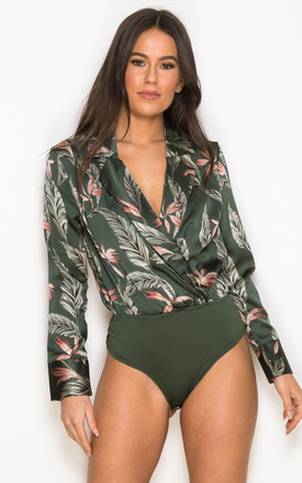 Ayla Floral Wrap Collar Bodysuit Green by Girl In Mind Product photo