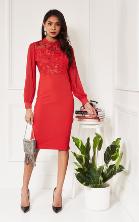 Red Lace Detail Midi Dress With Chiffon Sleeves by Luna Product photo