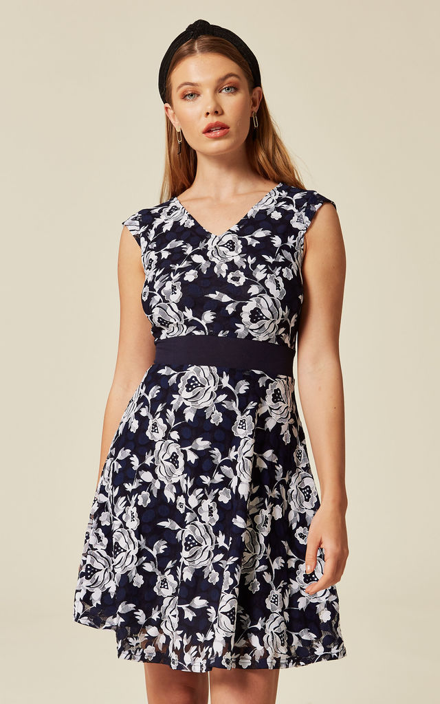 ... Blue Contrast Floral Lace Skater Dress by TENKI LONDON ... 8108912bc