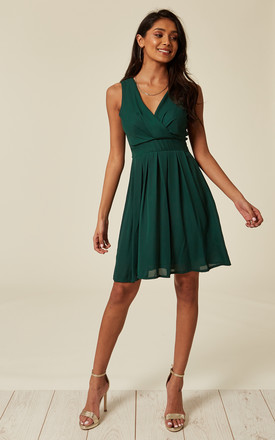 Tie Back Chiffon Dress With V Neck In Green by TENKI LONDON Product photo