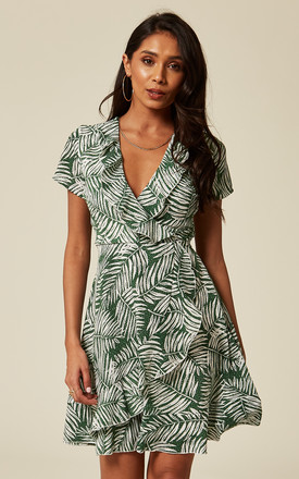 Green V Neck Tropical Leaves Print Ruffle Wrap Dress by TENKI LONDON