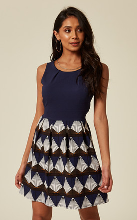 Navy Blue Contrast Geometric Print Skater Dress by TENKI LONDON Product photo