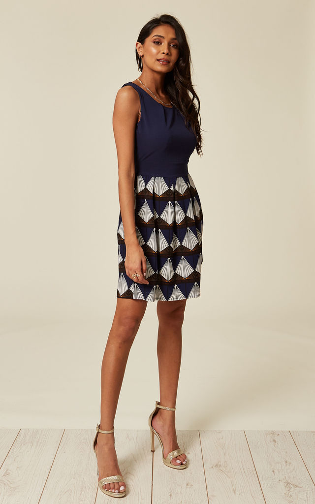 Exclusive Navy Blue Contrast Geometric Print Skater Dress by TENKI LONDON
