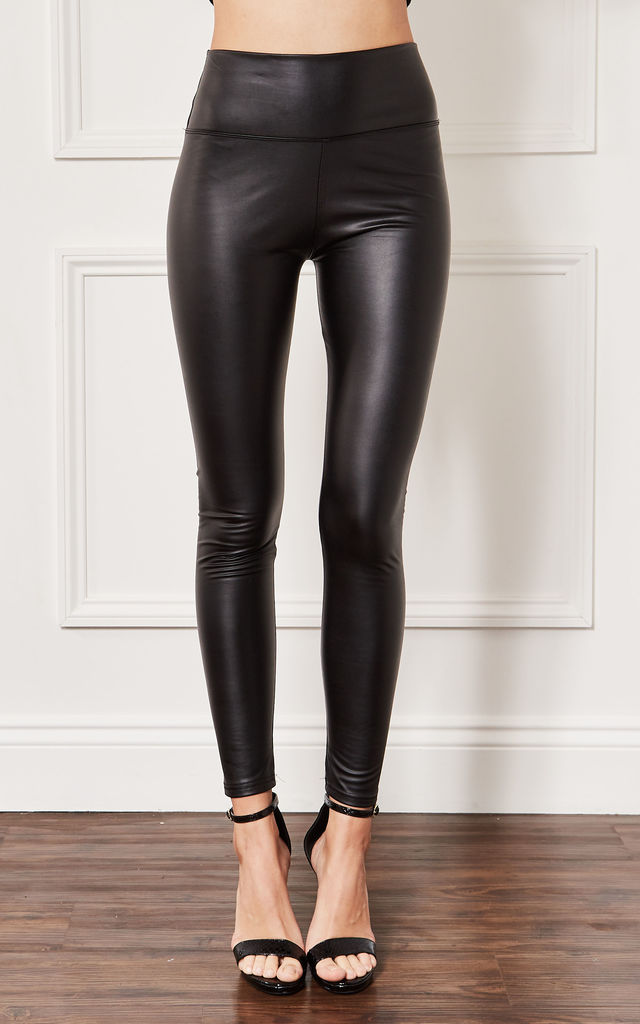 Black Faux Leather Leggings by John Zack