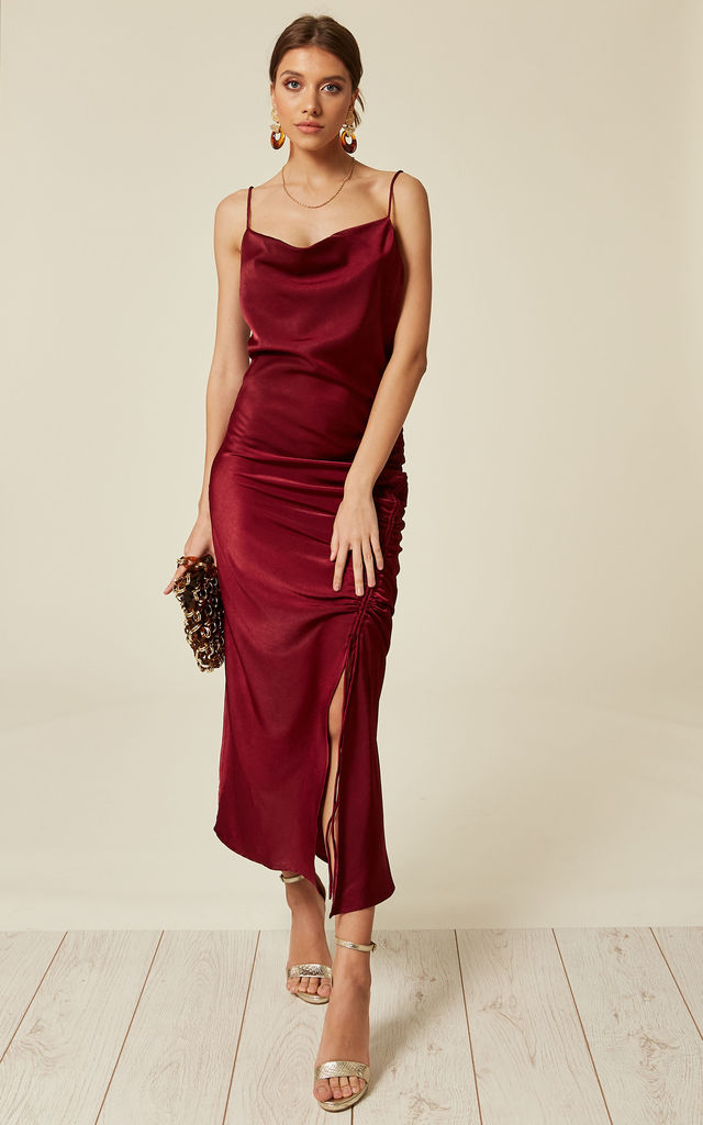 4136eeee16335 Red satin cowl maxi slip dress with draw string detail by Another Look