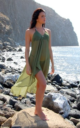 Khaki Sirena Dress by Natasha Kieran Product photo
