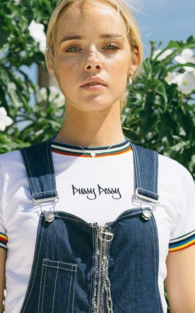 'Possy' Slogan Crop T Shirt In White by Cute Mistake Product photo
