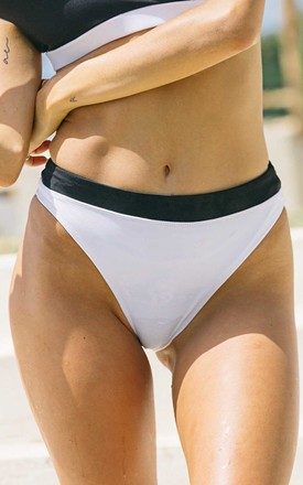 Outcast   High Cut High Waist Bikini Bottoms In White And Black by Cute Mistake Product photo