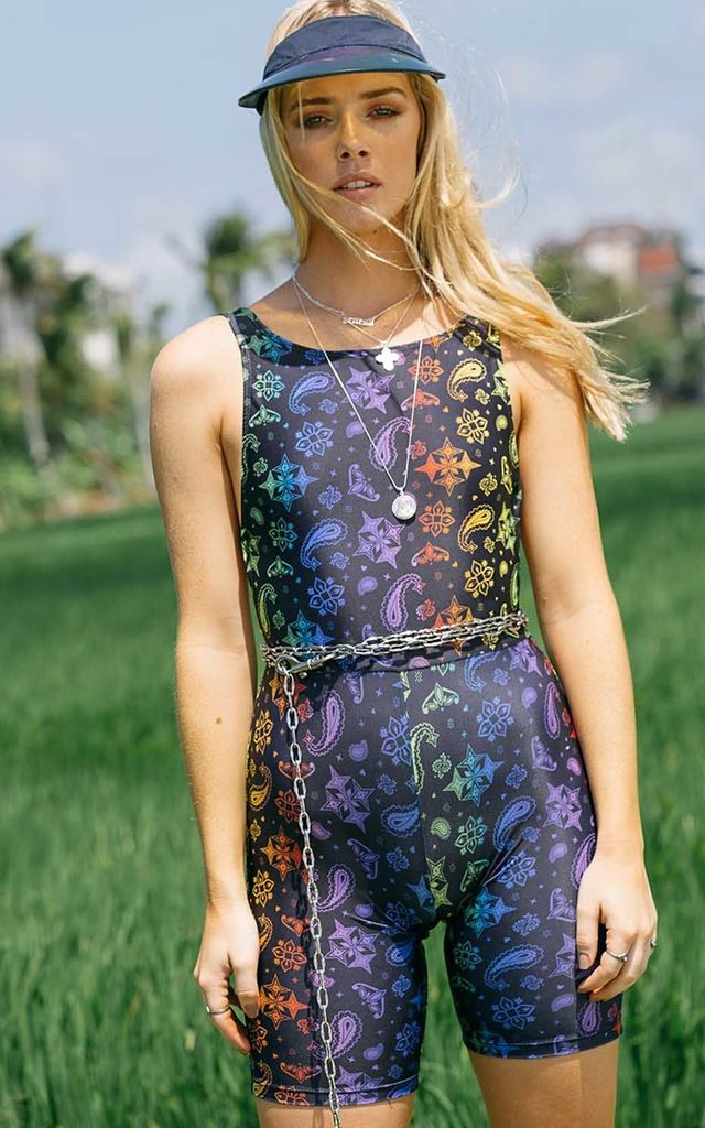 DIGGIN' ON YOU-NITARD - Sleeveless Unitard with low back in Rainbow Paisley Print by Cute Mistake