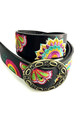 Black Geometric Embroidered Floral Hippie Boho Festival Buckle Belt by Urban Mist