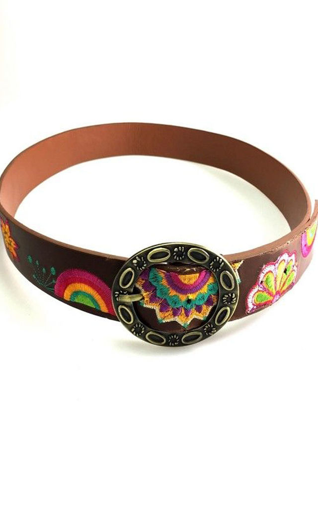 Brown Geometric Embroidered Floral Hippie Boho Festival Buckle Belt by Urban Mist