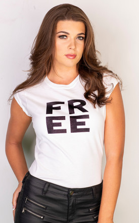 FREE slogan t shirt in white by GET IT GRL