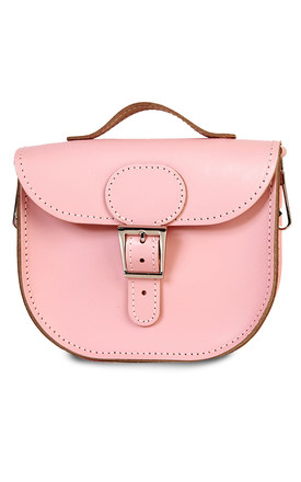 Small Leather Cross Body Satchel Bag in Blush Pink by Brit-Stitch