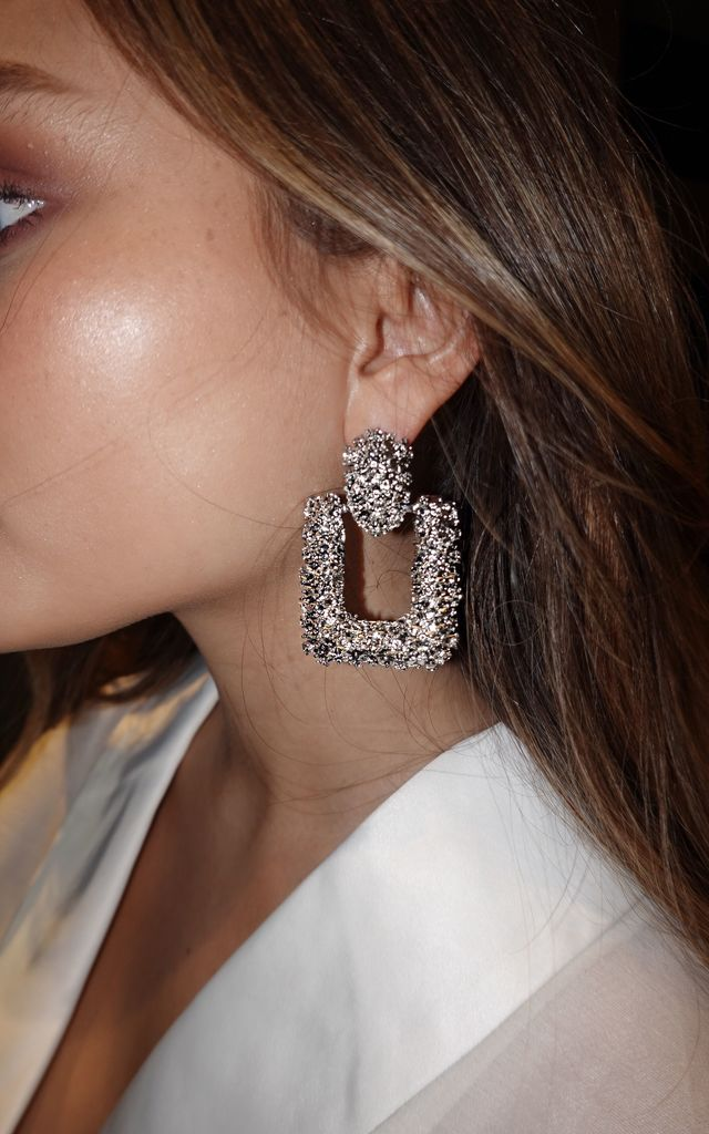 Eva Square Silver Textured Statement Earrings by Lavand Stories