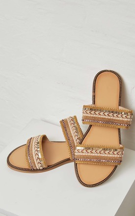 MIA – Embellished Strap Gold Flats by Blue Vanilla