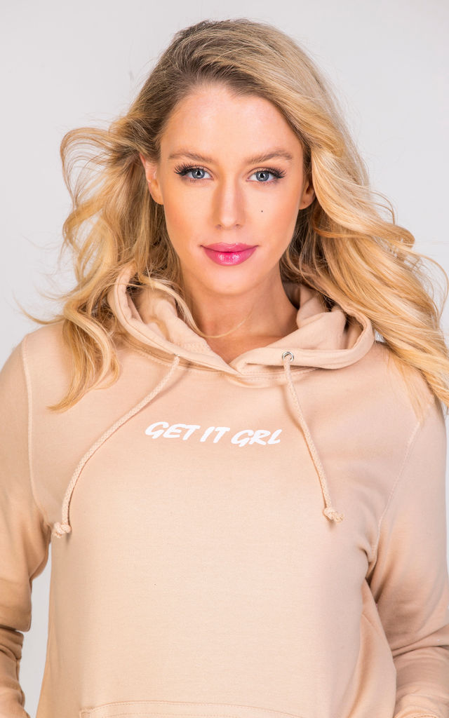 GET IT GRL logo hoodie in nude by GET IT GRL
