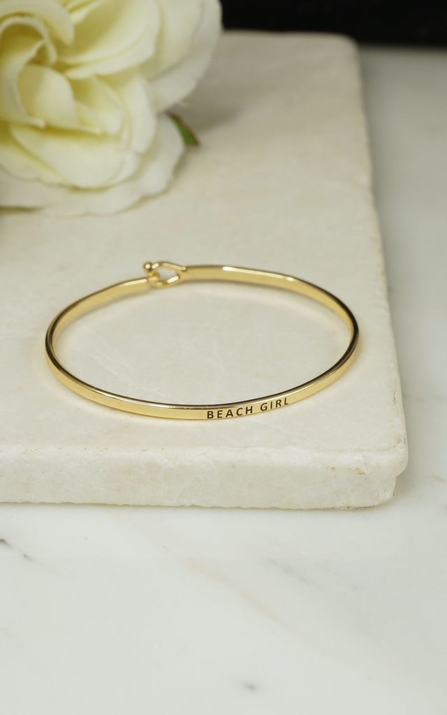 'BEACH GIRL' INSPIRATIONAL QUOTE BANGLE by EPITOME JEWELLERY