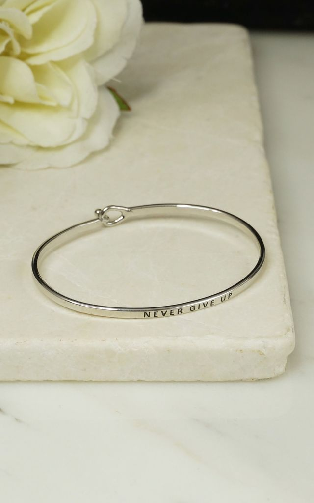 'NEVER GIVE UP' INSPIRATIONAL QUOTE BANGLE by EPITOME JEWELLERY
