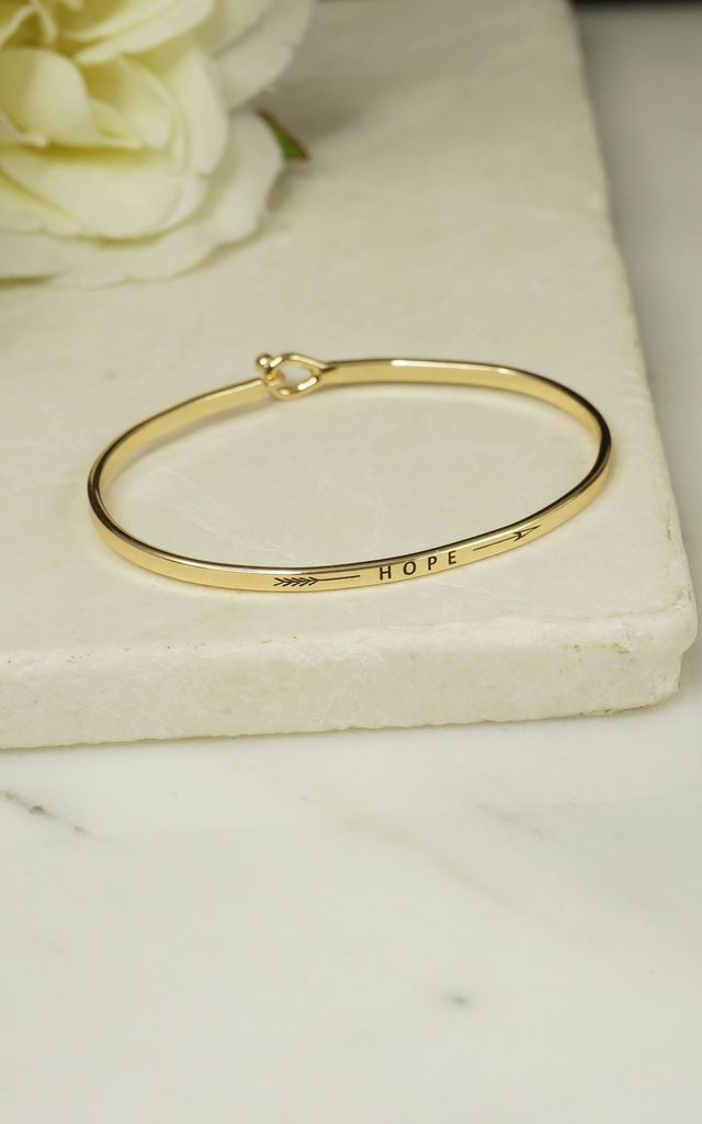 'HOPE' INSPIRATIONAL QUOTE BANGLE by EPITOME JEWELLERY