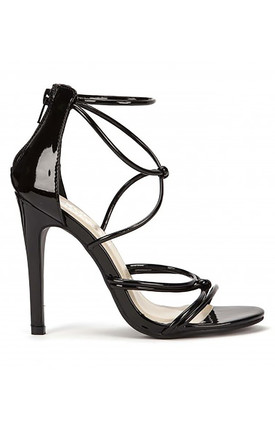 Barely There Strappy Stilettos in Black Patent by Shoe Closet