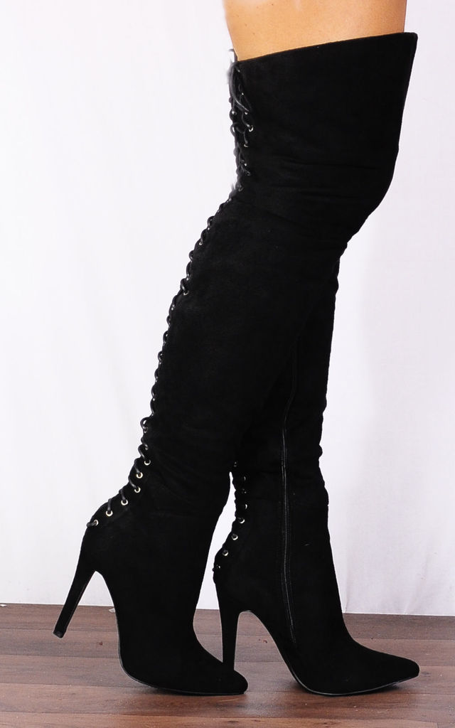 Black Thigh High Over the Knee Lace Ups Boots Stilettos High Heels by Shoe Closet