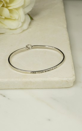 'FIND YOUR WINGS AND FLY' INSPIRATIONAL QUOTE BANGLE by EPITOME JEWELLERY