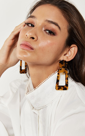 Tortoiseshell Rectangular Drop Earrings by Bella and Blue