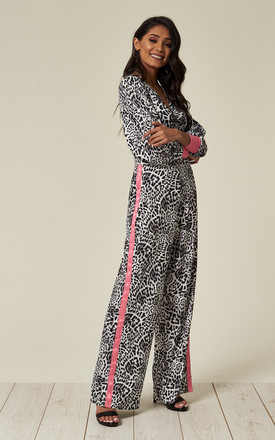 Animal Print Jumpsuit With Hot Pink Trim by Liquorish Product photo