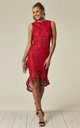 Red Fishtail Hem Lace Midi Dress by AX Paris