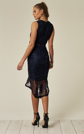 Navy Fishtail Hem Lace Midi Dress by AX Paris
