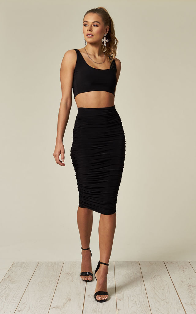 Black Sasha Ruched High Waisted Midi Skirt by Pleat Boutique