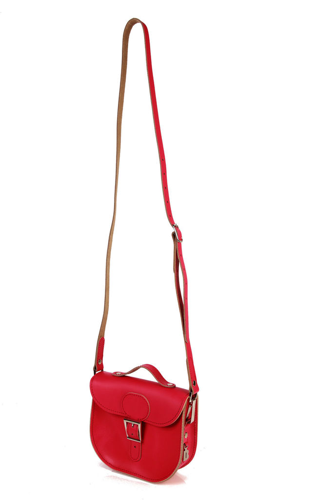 Small Leather Cross Body Satchel Bag in Fuchsia Pink by Brit-Stitch