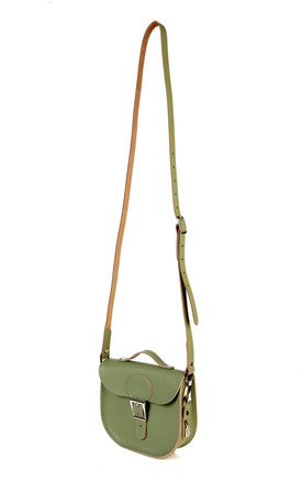 Small Leather Cross Body Satchel Bag in Khaki Green by Brit-Stitch