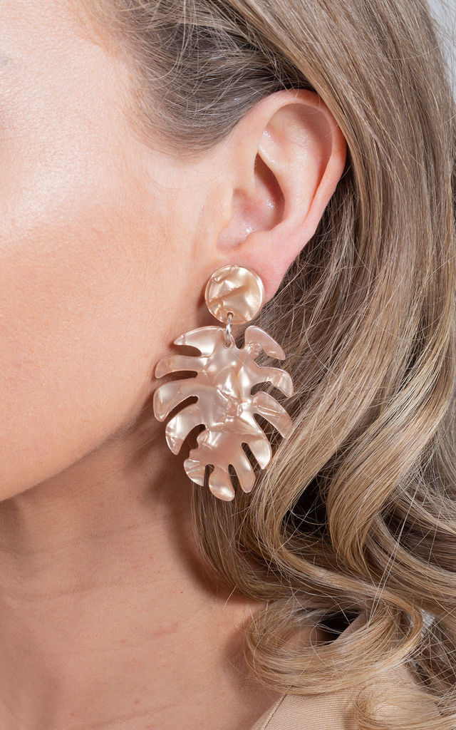 Light Weight Acrylic Tropical Leaf Drop Earrings Nude by Saint Genies
